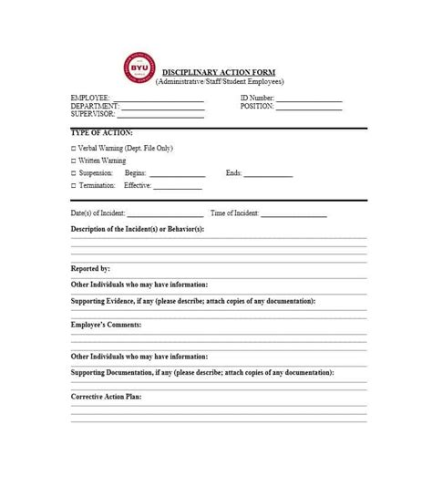 disciplinary form template 40 employee disciplinary forms template lab