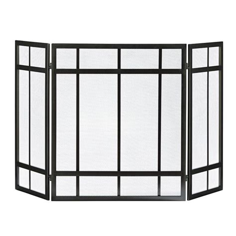 fireplace screen home depot pleasant hearth mission style 3 panel fireplace screen fa017sb the home depot