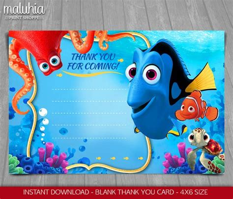 Finding Dory Thank You Card Instant Download Finding Nemo Finding Dory Birthday Invitations Template