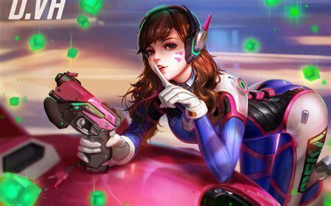 Wallpaper Dva Overwatch Fusion Cannon Games
