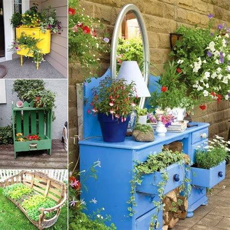 Creative Planter Ideas by Cool And Creative Recycled Furniture Planter Ideas