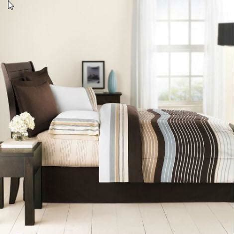 queen mainstays urban stripe bed in a bag coordinated bedding set bed in a bag blue brown ebay