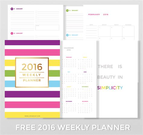 free printable daily planner pages 2016 free 2016 weekly planner life in eight