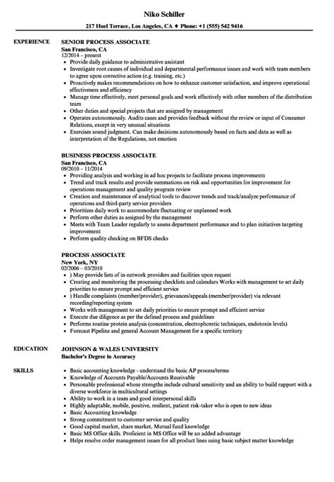 Process Associate Sle Resume by Process Associate Resume Sles Velvet