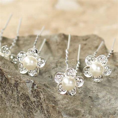 Flower Rhinestone Hair Pin rhinestone and pearl flower hair pins wedding wear