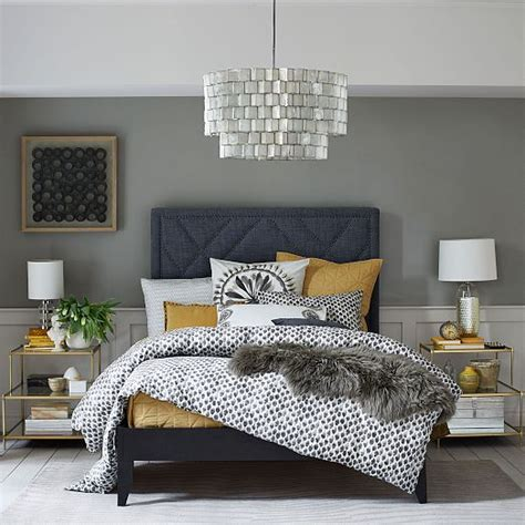navy grey and yellow bedroom mustard and navy bedroom home decorating diy