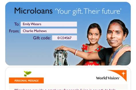 World Vision Gift Cards - give a world vision microloan gift card this christmas