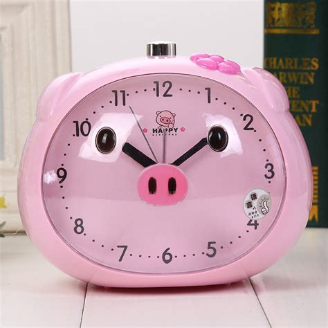 novelty speaker pig alarm clock with led light table clocks light reloj clock for children