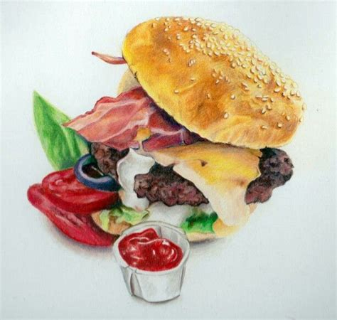 Food Drawing Pen Pencil Makanan Harga burger drawing by akdizzle color pencil