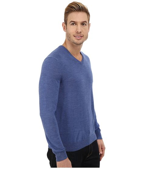 Sweater Ck T1310 3 calvin klein solid merino v neck sweater in blue for lyst