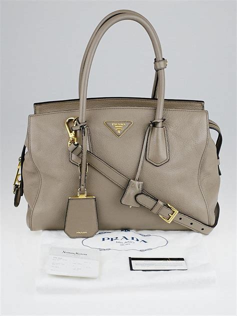 Prada Satchel by Prada Grey Pebbled Leather Top Handle Satchel Bag Yoogi