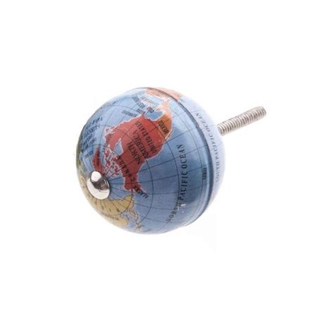 Worlds Knob by Gisela Graham Atlas Globe World Map Retro Earth Door Knob