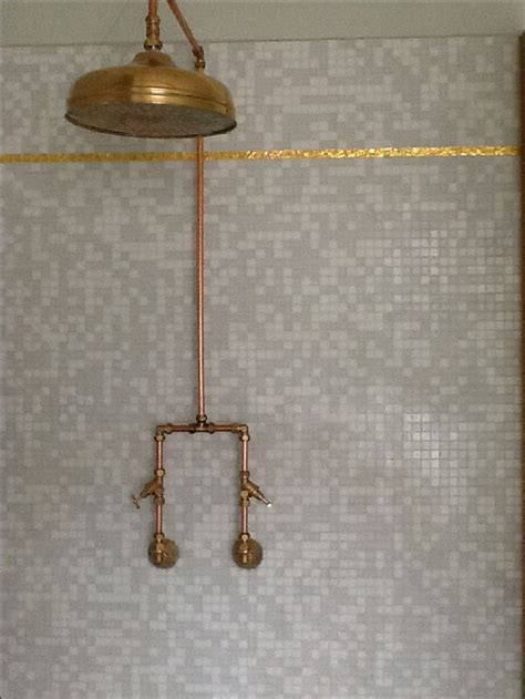 bathroom shower pipe exposed copper piping shower bathroom pinterest