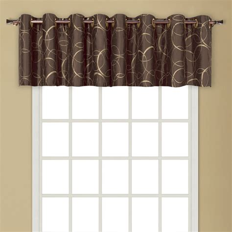 chocolate curtains with valance sinclair embroidery valance chocolate united kitchen