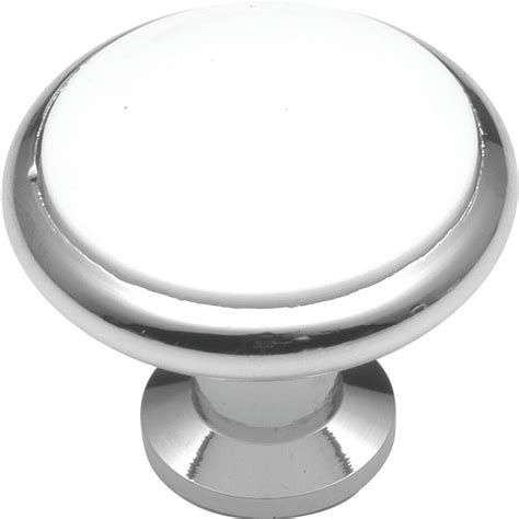 white and chrome cabinet knobs hickory hardware tranquility 1 3 8 in white porcelain