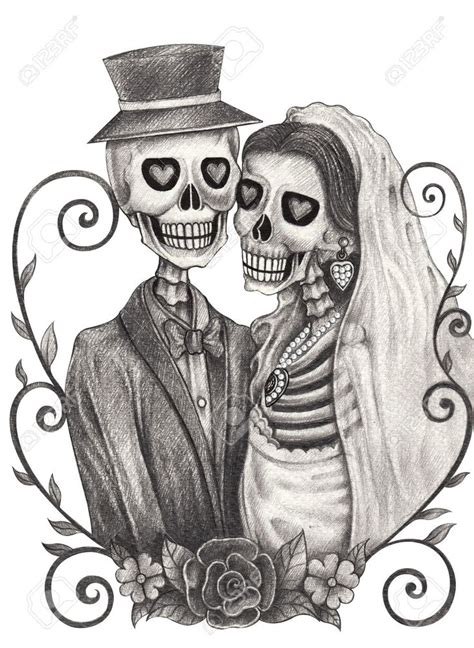 day of the dead couple tattoo skeleton and groom drawing search