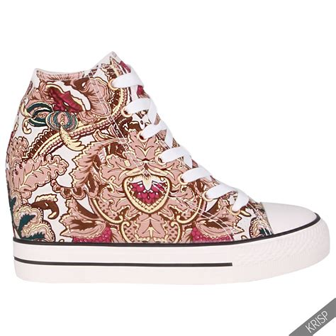 womens gem canvas high heel wedge sneakers low top lace up