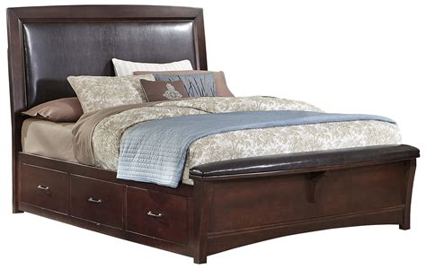 upholstered queen bed with storage vaughan bassett transitions queen upholstered bed with 1 side storage belfort