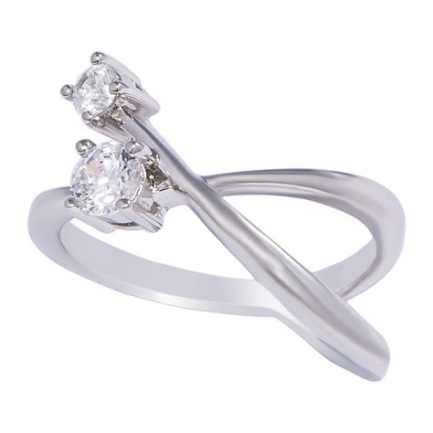Silver Ring With Cubic Zirconia P 1007 silver cut two cubic zirconia ring sarahgargash