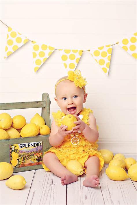 fruit 9 month baby child portrait lemon yellow fruit america baby 9