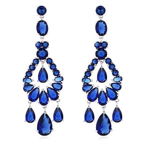 2018 Austrian Crystal Chandelier Big Long Fashion Jewelry Royal Blue Chandelier Earrings