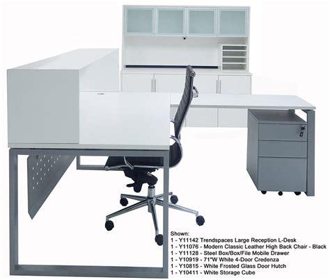 small white l trendspaces white l shaped reception desk
