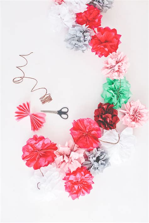 Garland With Paper Flowers - tissue paper flower garland a subtle revelry