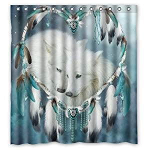 wolf shower curtain com bathroom decor dreamcatcher wolf shower