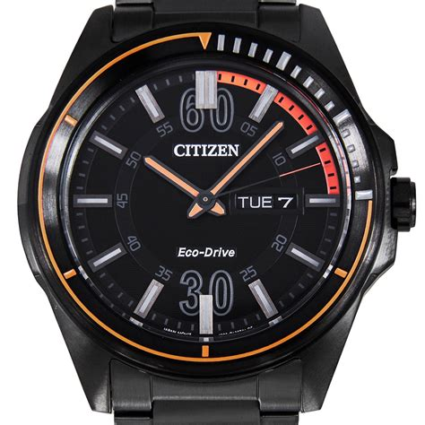citizen eco drive analog ip black mens sports aw0035 51e