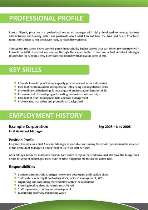 Australian Resume Sle Hospitality Australian Professional Cv Format Top Essay Writing Attractionsxpress Attractions