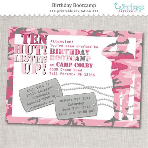 free printable birthday invitations envelopes pink army invitation quot birthday bootc quot birthday invite