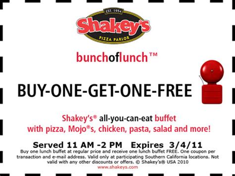 shakey s lunch buffet shakey s pizza is offering a bogo buy one get one free