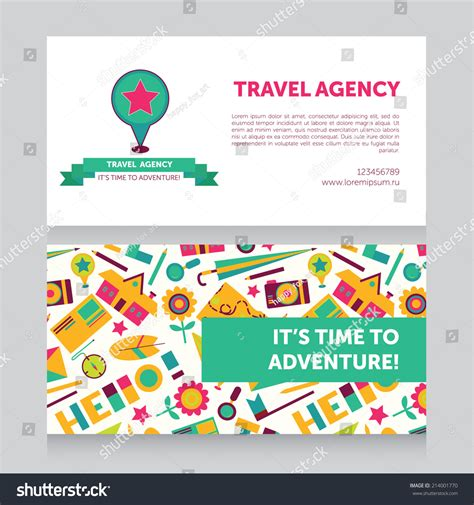 travel business card template with wavy designs design template travel agency business card stock vector