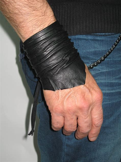 sculpted men s leather cuff bracelet leather wrist band