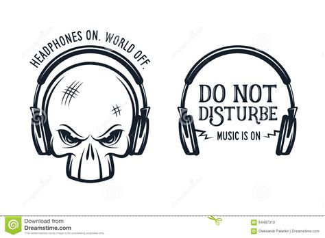skull in headphones print with quote vintage stock vector