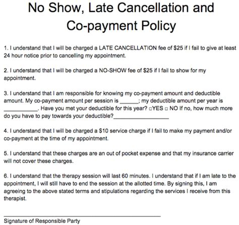 show late cancellation   payment policy