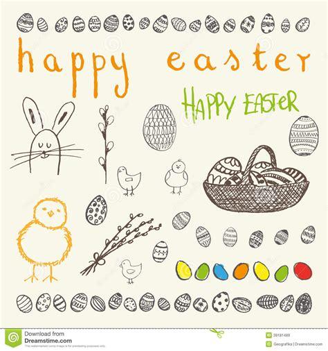 doodle resurrection doodle vector happy easter set with eggs vector