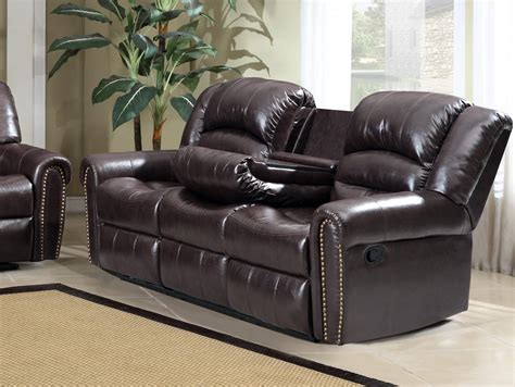 Leather Nailhead Sofa by 684 Brown Leather Reclining Sofa With Console And Nailhead