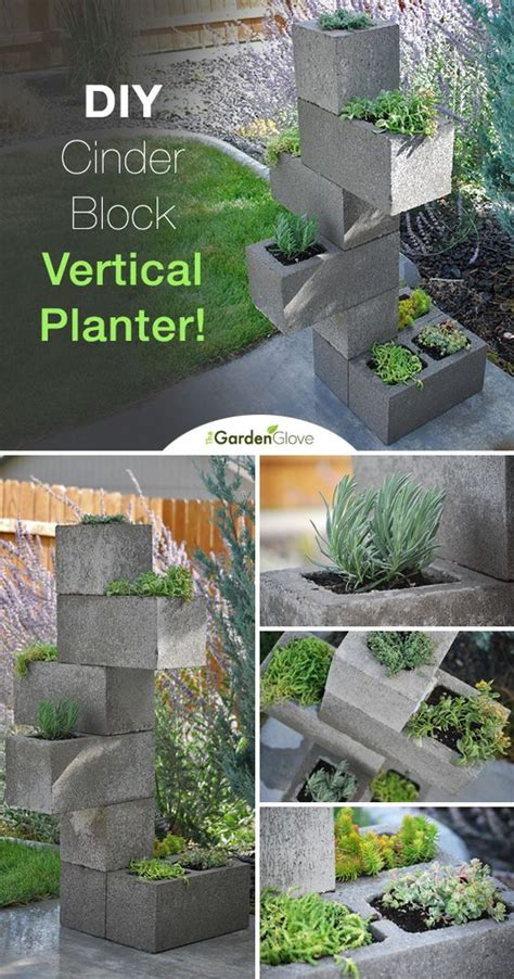 vertical planter cinder blocks and planters on pinterest