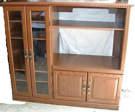 Glass Door Entertainment Center Oak Doors Oak Entertainment Center With Glass Doors