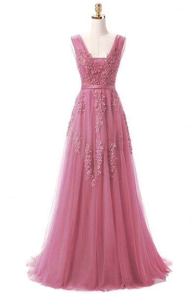 vintage 2018 lace tulle prom dresses a line v neck with appliques open back evening gowns bridal