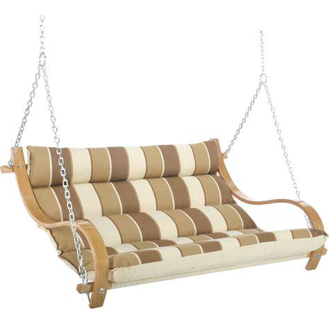 hatteras swings rio birch stripe deluxe cushioned double porch swing