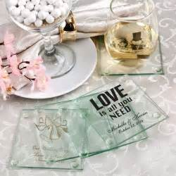Coaster Favors For Weddings by Personalized Glass Coasters Wedding Favors