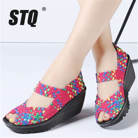 flat high heel sandals stq 2017 summer platform sandals shoes woven