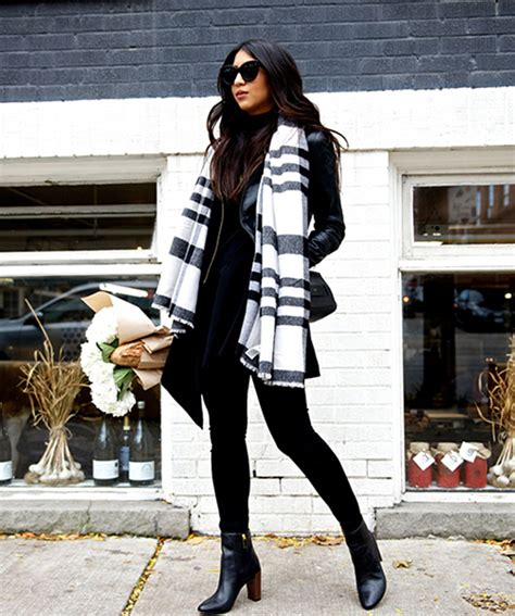 Summer To Fall Coats I Its Just With Me by Seah S Oversized Black And White Scarf Looks Great