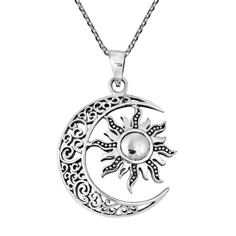celtic crescent moon and sun eclipse sterling silver