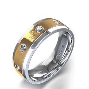 wedding ring mens 1 2 ctw beveled edge s wedding ring in two tone 14k white gold