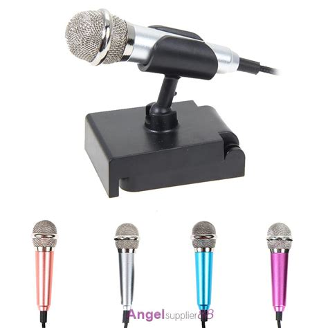 Mini Smartphone 3 5mm Microphone With Mic Stand Pink portable 3 5mm wired mini cell phone microphone stereo mic