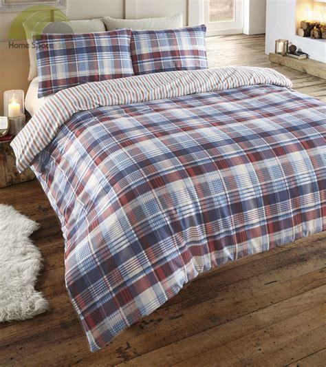 Duvecover Set 200x200 Kingkoil Cotton 4 100 brushed cotton tartan quilt duvet cover pillowcase bedding bed sets new ebay