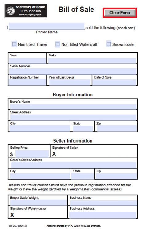 boat bill of sale wisconsin free michigan boat trailer snowmobile bill of sale tr